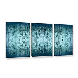 ArtWall Cora Niele's Coincident Series V 3 Piece Gallery Wrapped Canvas Set, 18 by 36""