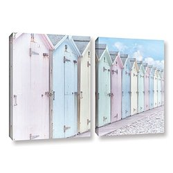 18in H X 28in W Sea Side Beach Cabins I by Cora Niele - 2 Pieces