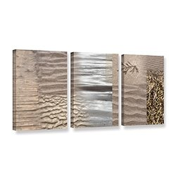 """ArtWall Cora Niele's Wind 3 Piece Gallery Wrapped Canvas Set, 18 by 36"""""""