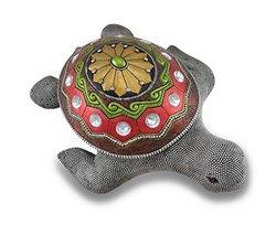 Metallic Silver Rhinestone Accented Sea Turtle Statue