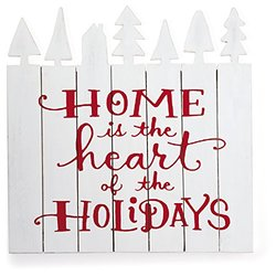 "Hallmark Craft Whitewashed ""Home is the Heart"" Wooden Sign with Pine Trees"