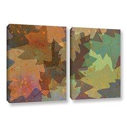 "ArtWall Cora Niele's American Oak Leaves 2 Piece Canvas Set - 18 by 28"""