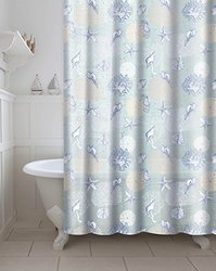 CHI Printed PEVA/EVA 13-Piece Printed Coral Water Proof Shower Curtain with Metal Roller Hooks, Aqua Blue