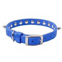 "Oliver & Iris Nylon Dog Collar, Spiked, Blue, 1"" Width, 26"" Length"