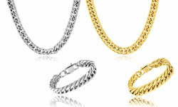 Men's 18K Gold Plated Double Cuban Miami Link Necklace and Bracelet Set