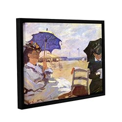 """ArtWall Claude Monet's The Beach Gallery Wrapped Floater Framed Canvas, 18 by 24"""""""