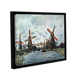 Claude Monet's Windmills Gallery Wrapped Floater Framed Canvas - 18x24""