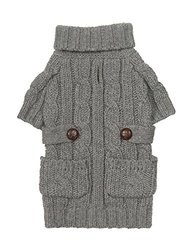 "Fab Dog Chunky Turtleneck Dog Sweater, Heather Grey, 10"" Length"