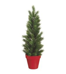 "16"" Pine Tree in Plastic Pot Green Red"
