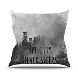 "Kess InHouse Alison Coxon ""The City Never Sleeps"" Outdoor Throw Pillow, 20 by 20-Inch"