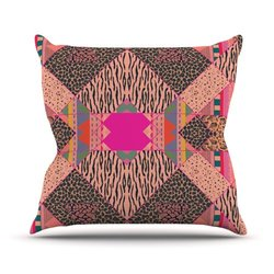 """Kess InHouse Vasare Nar """"New Wave Zebra"""" Pattern Pink Outdoor Throw Pillow, 26 by 26-Inch"""