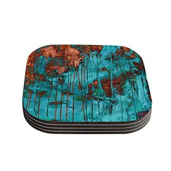 "Kess InHouse Iris Lehnhardt ""Rusty Teal"" Paint Teal Coasters, 4 by 4-Inch, Teal/Orange, Set of 4"