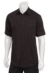 Chef Works DPDS-BLK-M Double Pocket Men's Shirt, Black, Medium