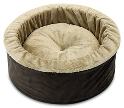 Oliver & Iris Soft Cozy Round Cat Bed, Medium, Chocolate/Camel