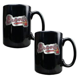 MLB Atlanta Braves Two Piece Black Ceramic Mug Set - Primary Logo