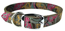 OmniPet 6246-CH10 Paisley Pattern Leather Dog Collar, Chocolate