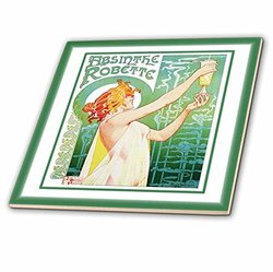 ct_80294_4 Picture of 1896 Livemonts Painting of a French Liquor Ceramic Tile, 12""