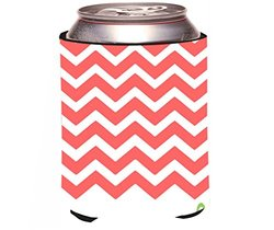 Rikki Knight Peach on White Anchor Design Can Cooler Koozie