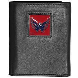 NHL Washington Capitals Men's Deluxe Leather Tri-fold Wallet - Black