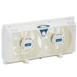 Lasko 8 in. Electrically Reversible Twin Window Fan with Thermostat (2138)