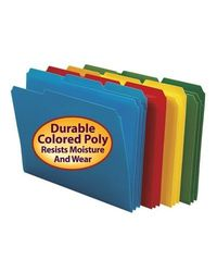 Smead Letter-Size 3-Tab Poly File Folder - Assorted - Pack of 24