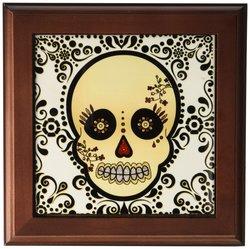 "3dRose Sugar Skull Gold & Black Framed Tile - Size: 8""x8"""