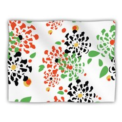 "Kess InHouse Sonal Nathwani ""Multi Bouquet"" Orange Green Pet Blanket, 60 by 50-Inch"