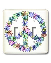 lsp_24629_2 Peace Sign Flower Power Design Pastel Rainbow, Double Toggle Switch