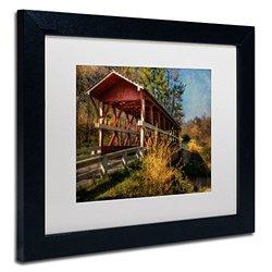 Trademark Fine Art Crossing Shawnee Creek Artwork by Lois Bryan, 11 by 14-Inch, White Matte with Black Frame