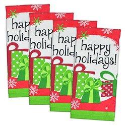 """DII 100% Cotton, Machine Washable, Everyday Basic Dishtowel, Printed, Decorative, 15 x 26"""" Set of 4- Holiday"""