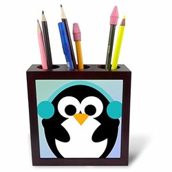 Christmas Penguin- Cute Whimsical Art Tile Pen Holder - 5""