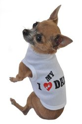 Doggie Tank Top, I Love My Daddy, White, Medium