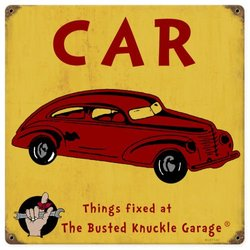 "Busted Knuckle Garage ""Things Fixed"" Decorative Automobile Sign"