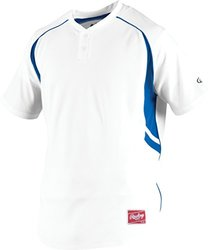 Rawlings Boy's 2-Button Jersey, White/Royal, Small