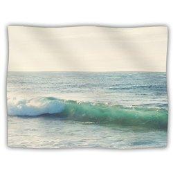 """Kess InHouse Myan Soffia """"Curl"""" Blue Tan Fleece Blanket, 60 by 50-Inch"""
