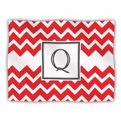 "Kess InHouse KESS Original ""Monogram Chevron Red Letter Q"" Fleece Blanket, 60 by 50-Inch"