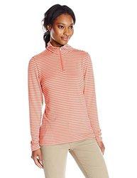 White Sierra Women's Stripe Quarter Zip Sweater, Dark Coral, X-Large