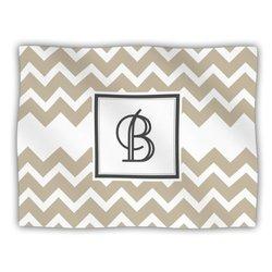 "Kess InHouse KESS Original ""Monogram Chevron Tan Letter B"" Fleece Blanket, 60 by 50-Inch"