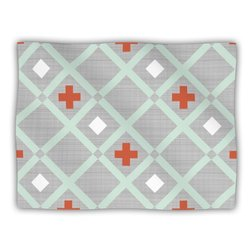 "Kess InHouse Pellerina Design ""Mint Lattice Weave Gray Mint"" Blanket, 60 by 50-Inch"