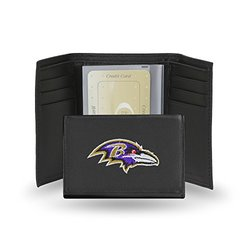 Rico Men's NFL Baltimore Ravens Embroidered Leather Trifold Wallet - Black
