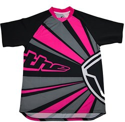 THE Industries Adult Lightweight BMX and Mountain Bike Short Sleeve Jersey, Pink/Grey/Black, XX-Large