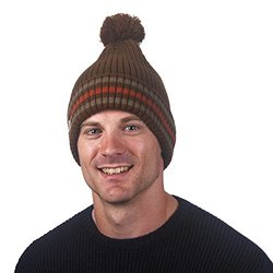 FU-R Headwear - Men's Race Team Striped Slouchy Pom Hat, Brown, One Size