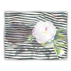 "Kess InHouse S. Seema Z ""Peony N White Black"" Fleece Blanket, 60 by 50-Inch"