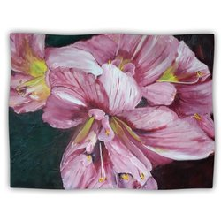 """Kess InHouse Cathy Rodgers """"Pink Day Lily Blooms Pink Flower"""" Blanket, 60 by 50-Inch"""