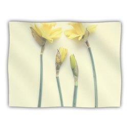 "Kess InHouse Debbra Obertanec ""Springtime Yellow Tulip"" Blanket, 60 by 50-Inch"