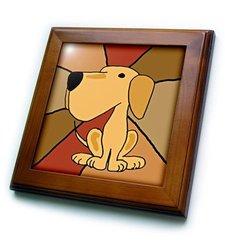 """8""""x8"""" Funny Yellow Labrador Retriever Framed Ceramic Tile"""