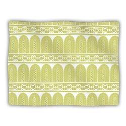 """Kess InHouse Nandita Singh """"Tribal"""" Green Pattern Fleece Blanket, 60 by 50-Inch"""