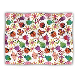 "Kess InHouse Jane Smith ""Garden Floral Plants Bugs"" Blanket, 60 by 50-Inch"