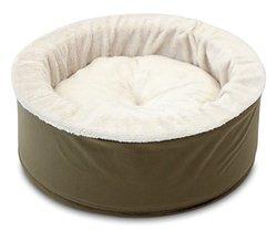Oliver & Iris Soft Cozy Round Cat Bed - Mocha/Khaki - Small