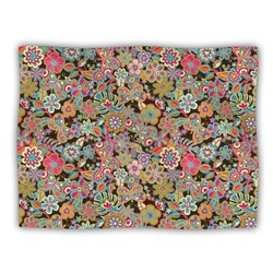"""Kess InHouse Julia Grifol """"My Butterflies and Flowers in Brown Rainbow Floral"""" Blanket, 60 by 50-Inch"""